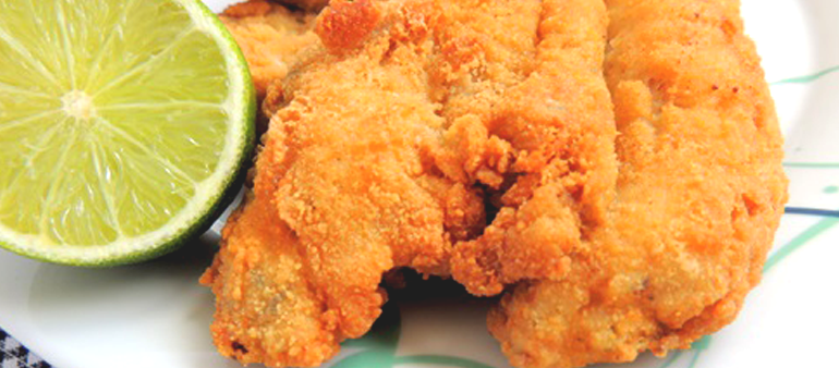 Primeiro prato: Filé de peixe frito