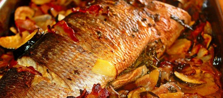 Primeiro prato: Peixe ao forno
